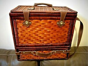 Vintage-Wicker-Bamboo-Picnic-Basket-gorgeous-condition-with-flatware-ect