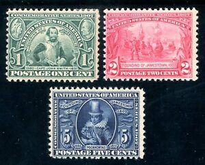 USAstamps-Unused-FVF-US-Jamestown-Complete-Set-Scott-328-330-OG-MHR-329-MNH