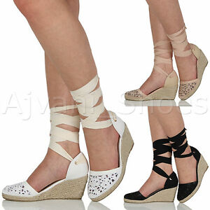 WOMENS-LADIES-MID-WEDGE-HEEL-SUMMER-CUT-OUT-TIE-UP-ESPADRILLES-SANDALS-SIZE