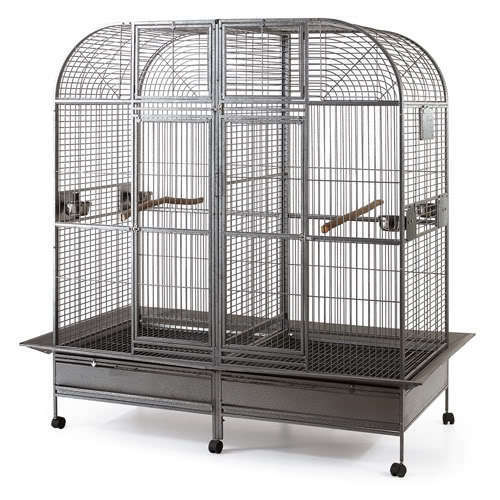 double cage with center divider for bird parrot aviary w64xd32xh73