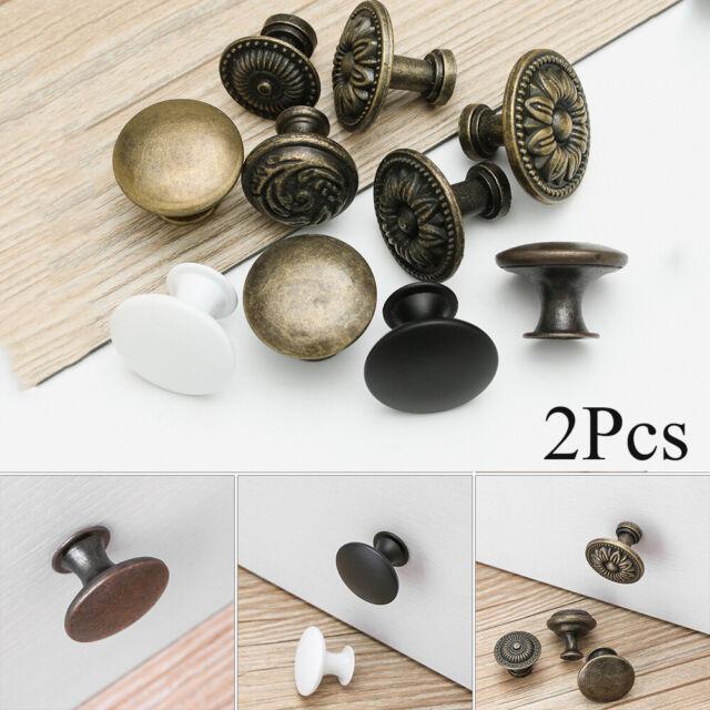 2Pcs Round Shape Door Handle Drawer Knob Cabinet Pulls Antique Brass Furniture
