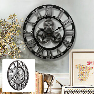 LARGE-WALL-CLOCK-OUTDOOR-GARDEN-Big-ROMAN-NUMERALS-GIANT-OPEN-FACE-METAL-40CM