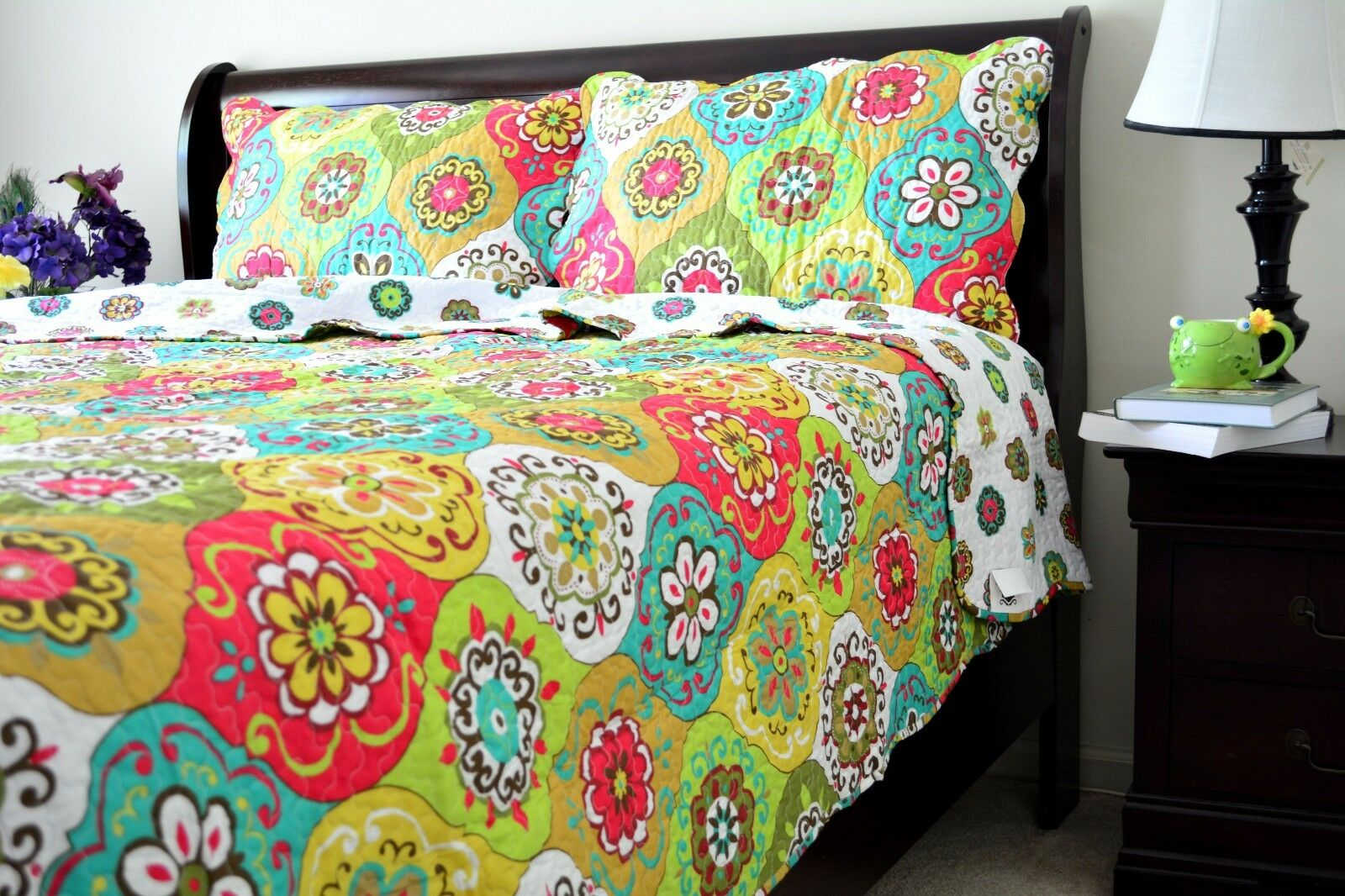 Tache 3PC All Floral French Country Grün Summer Reversible Bedspread Quilt Set