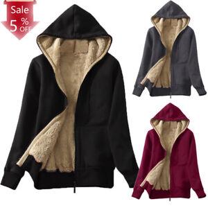 Women-039-s-Casual-Winter-Warm-Sherpa-Lined-Zip-Up-Hooded-Sweatshirt-Jacket-Coat