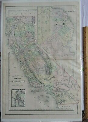 1883 CA Map South Gate Whittier San Francisco Stockton CALIFORNIA History   HUGE