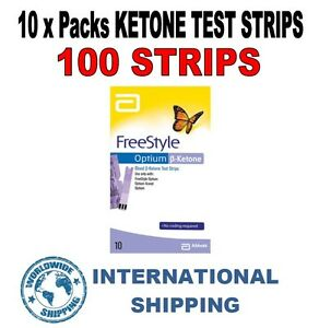 Abbott Freestyle Optium Ketone Strips - 10 PACKS = 100 STRIPS *PRECISION* ^