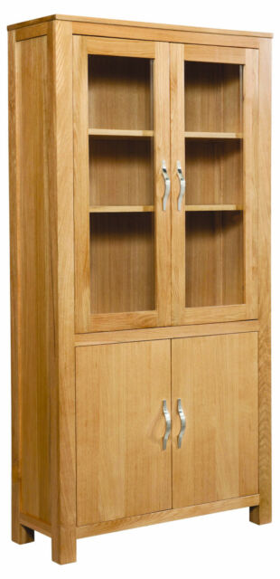 Winchester Glazed Display Cabinet Solid Oak Fully Assembled
