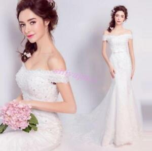 65839499ba52 Image is loading Chic-Retro-Lace-Pearl-Off-Shoulder-Mermaid-Wedding-