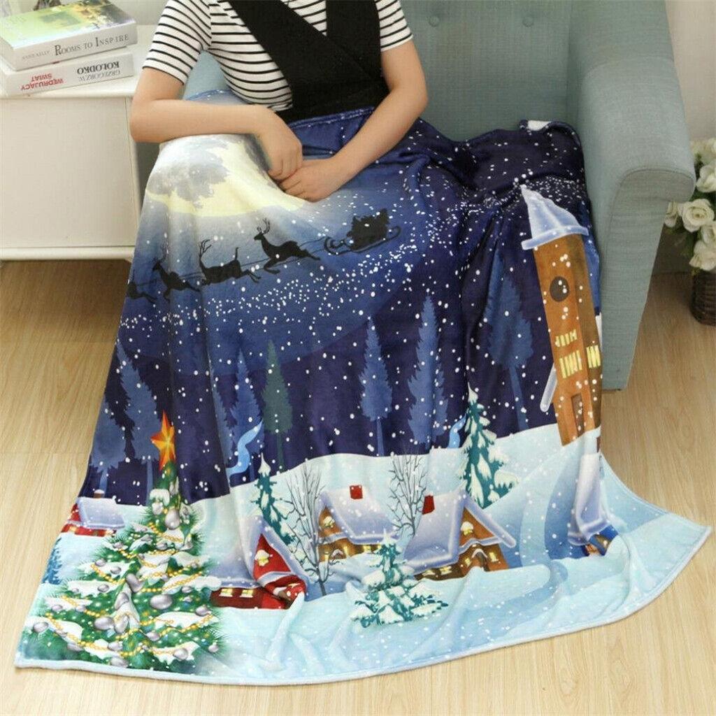 Weihnachtsdecke Doppel Fleece w / Weihnachten drucken weichen warmen Sofa Decke