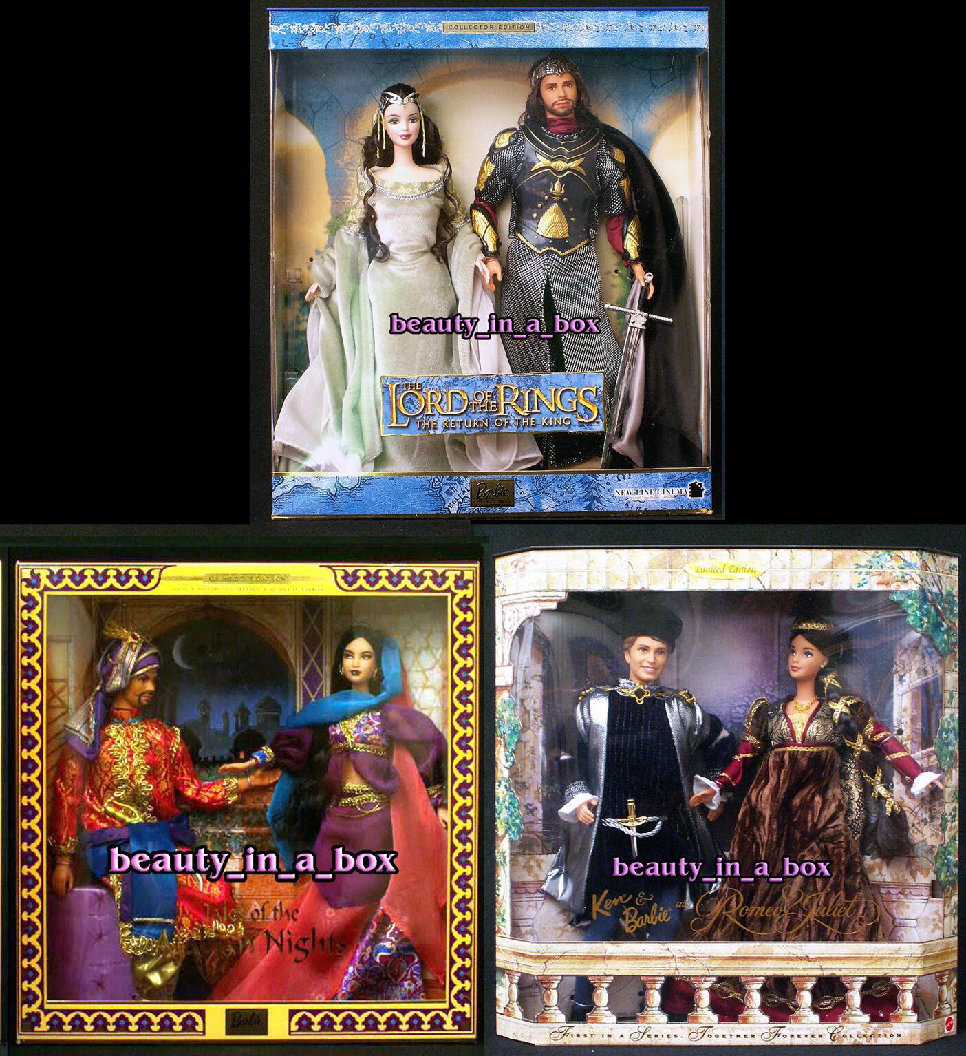 Señor de los anillos muñeca Barbie Cuentos De Las Mil y Una Noches Romeo Julieta Ken Lote 3