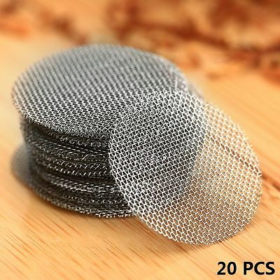 """20mm 0.78"""" Silver Stainless Steel Tobacco Smoking Pipe Screen Metal Filters 20PC"""