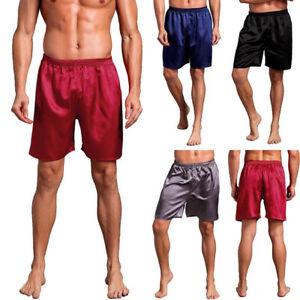 Men Satin Silk Sleepwear Underwear Sleep Shorts Nightwear Short Pant L-XXL