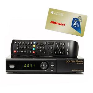 TIVUSAT-Karte-amp-Golden-Media-Wizard-HD-780-Sat-Receiver-LAN-aktiviert-fuer-immer
