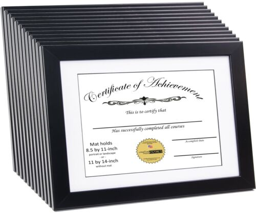 CreativePF 11x14bkw Black Document Frame Displays 8.5 by 11inch with Mat or