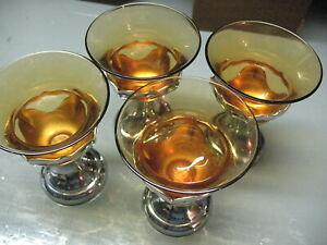 Vintage Farber Bros. Krome Kraft Amber shrbet tasses (4) originaux très belle