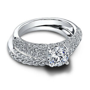 1.30 Ct Round Moissanite Engagement Band Set Real 18K White Gold Rings Size 9.5