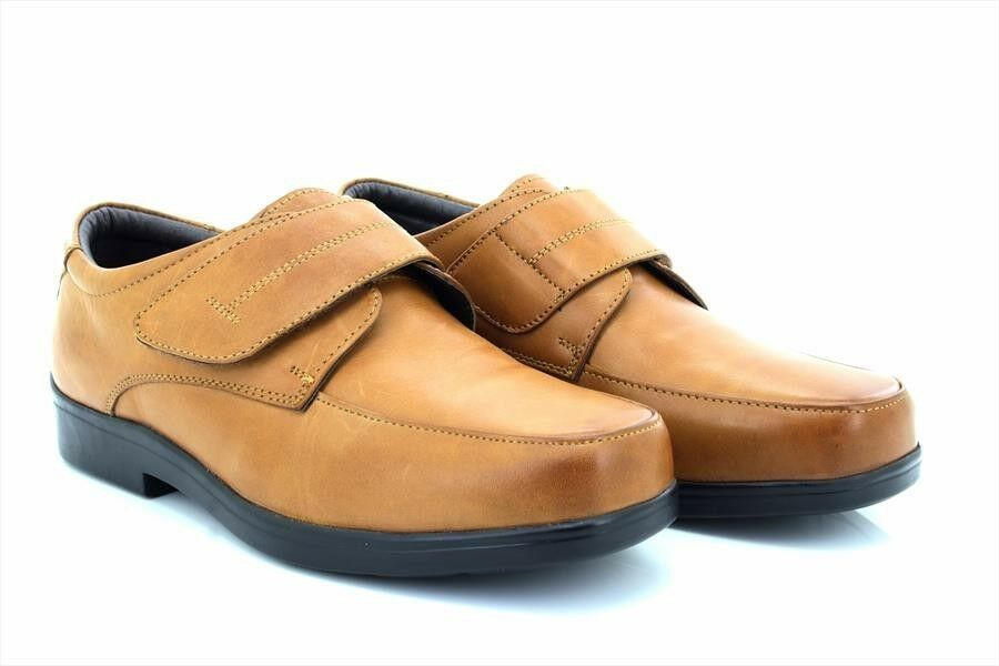 Roamers M688 Supersoft Leder Touch Fastening Mudguard Casual Schuhes Mid Braun
