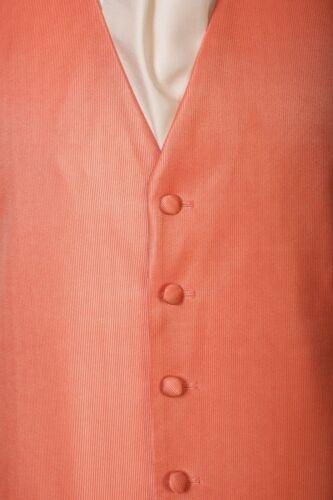 Da Uomo Nuovo Pallido Arancione Corallo Matrimonio Smoking Abito Da Sera Palla Crociera Gilet B1