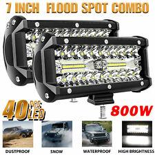 2x 7inch 800w Led Work Light Bar Flood Spot Combo Fog Lamp Offroad Driving Truck