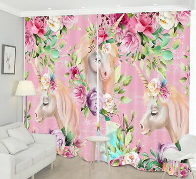 Fantasy Forest Floral Unicorn 3D Photo Printing Window Curtains Blockout Fabric