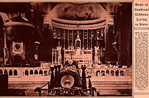 1921 ROTOGRAVURE CARDINAL FITZGIBBONS LYING IN STATE BALTIMORE CATHEDRAL