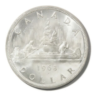 1963 Proof Silver Canada Elizabeth II Young Bust Voyageur Canoe $1 KM54