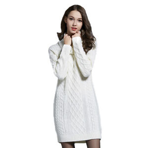 Details about 3XL 4XL Plus Size Knitted Long Sleeve Turtleneck Women Casual  Sweater Dresses