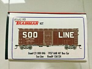 ATLAS 1/87 HO 40' 1937 SOO LINE AAR BOX CAR KIT CAR # 136124 ITEM # 21000046 NIB