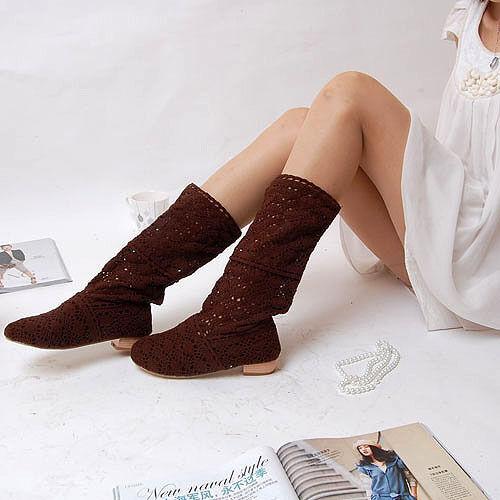 Botas de mujer perforado verano en marrón tacón bajo código 8016