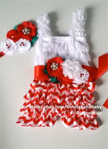 Girl Posh Petti Ruffle Romper baby romper baby girl romper hairbow sash S,M,L,XL