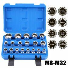"Penta-Metric Spline Socket Set Pro New Chrome Vanadium Steel HD 19 Pcs 1//2/"" DR"