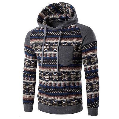 Winter Men Retro Long Sleeve Hoodie Hooded Sweatshirt Tops Jacket Coat Outwear