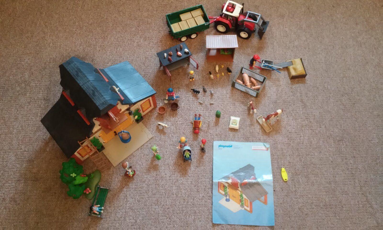 Playmobil Bauernhof mit sehr viel Zubehör Traktor Ställe Tiere etc.