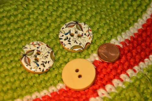 Jolie Eye-Catcher bois Emalie bouton boutons 2,5cm 5 pièces NEUF