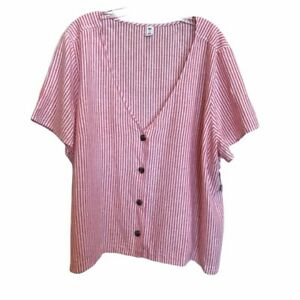NORDSTROM-BP-Short-Sleeve-Linen-Blend-Red-White-Striped-Blouse-Plus-Size-3X-NWT