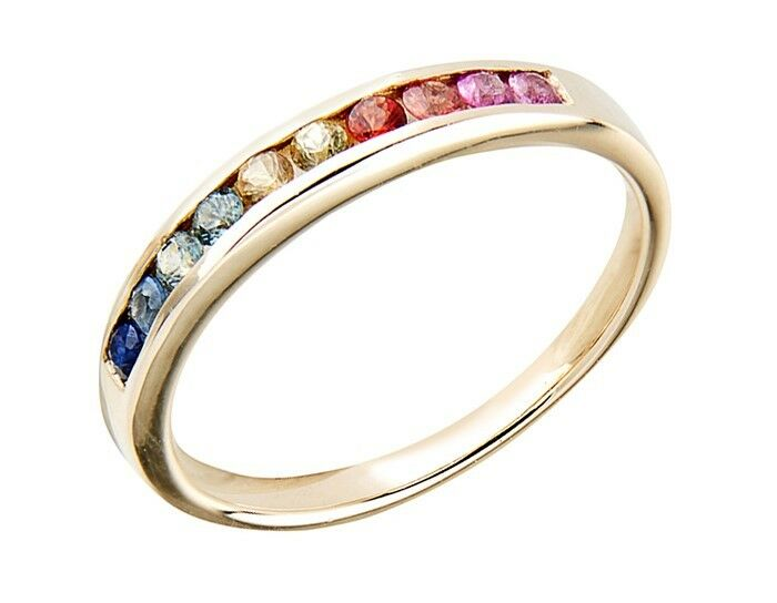 R165 Genuine 10K, 14K, 18K Yellow, White or pink gold Real Rainbow Sapphire Ring