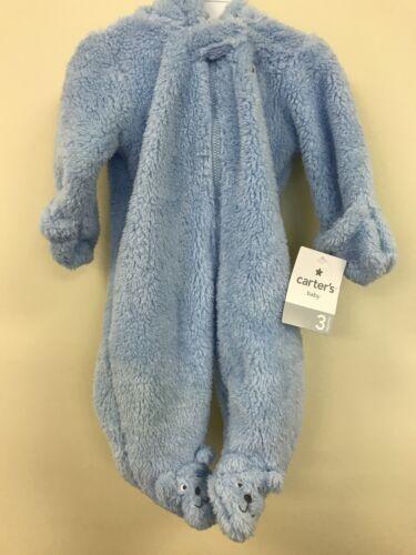 Carter/'s Baby Blue Sherpa Pram Snowsuit with Hood Choose Size