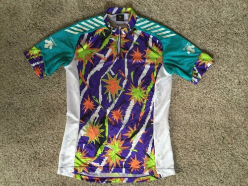 Vtg 80s 90s Descente Cycling XL Men Jersey Racing Made Japan Neon Shirt Colors