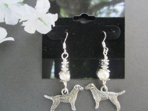 Labrador //Golden Retriever Dog Earrings w// Freshwater Pearls /& Swaovski Crystals
