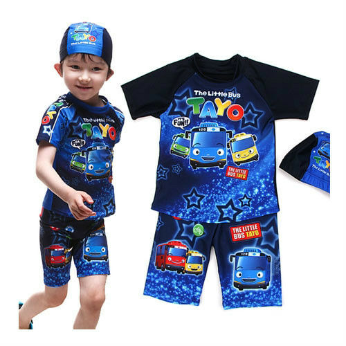 Tayo Blau star swim suit 3pcs set for 56 years old boy (standard