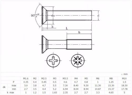 M8 M10 MACHINE SCREWS FLAT HEAD PHILLIPS SCREWS 304 A2-70 STAINLESS GB//T819