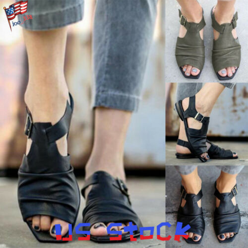 Fashion Womens Sandals Buckles Shoes Ladies Peep Toe Pleated Low Heels Casual US