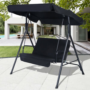 Image Is Loading Black Outdoor Patio Swing Canopy Awning Yard Furniture