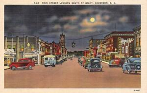 Details about ANDERSON, SC South Carolina MAIN STREET SCENE Carolina & Cars  c1940's Postcard