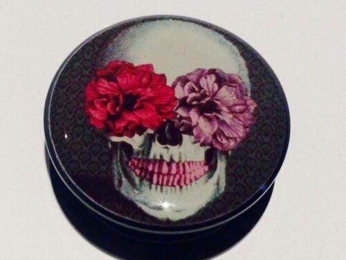 Pair Flower Bloom Sugar Skull Ear Plugs Flesh Tunnel Stretcher Taper 6-30mm