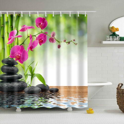 Beautiful Flower Tree Fabric Waterproof Bathroom Shower Curtain With 12 Hooks