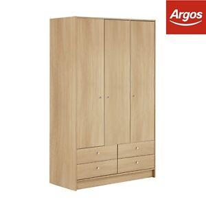 argos home malibu 3 door 4 drawer wardrobe beech effect. Black Bedroom Furniture Sets. Home Design Ideas