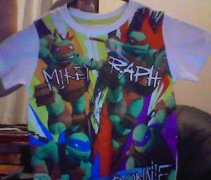 Size-2-Cotton-Print-T-Shirt-Colourful-TMNT-Teenage-Mutant-Ninja-Turtles-NEW