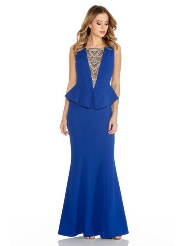 NEW QUIZ Blue Diamante Fishtail Maxi peplum Dress size 8