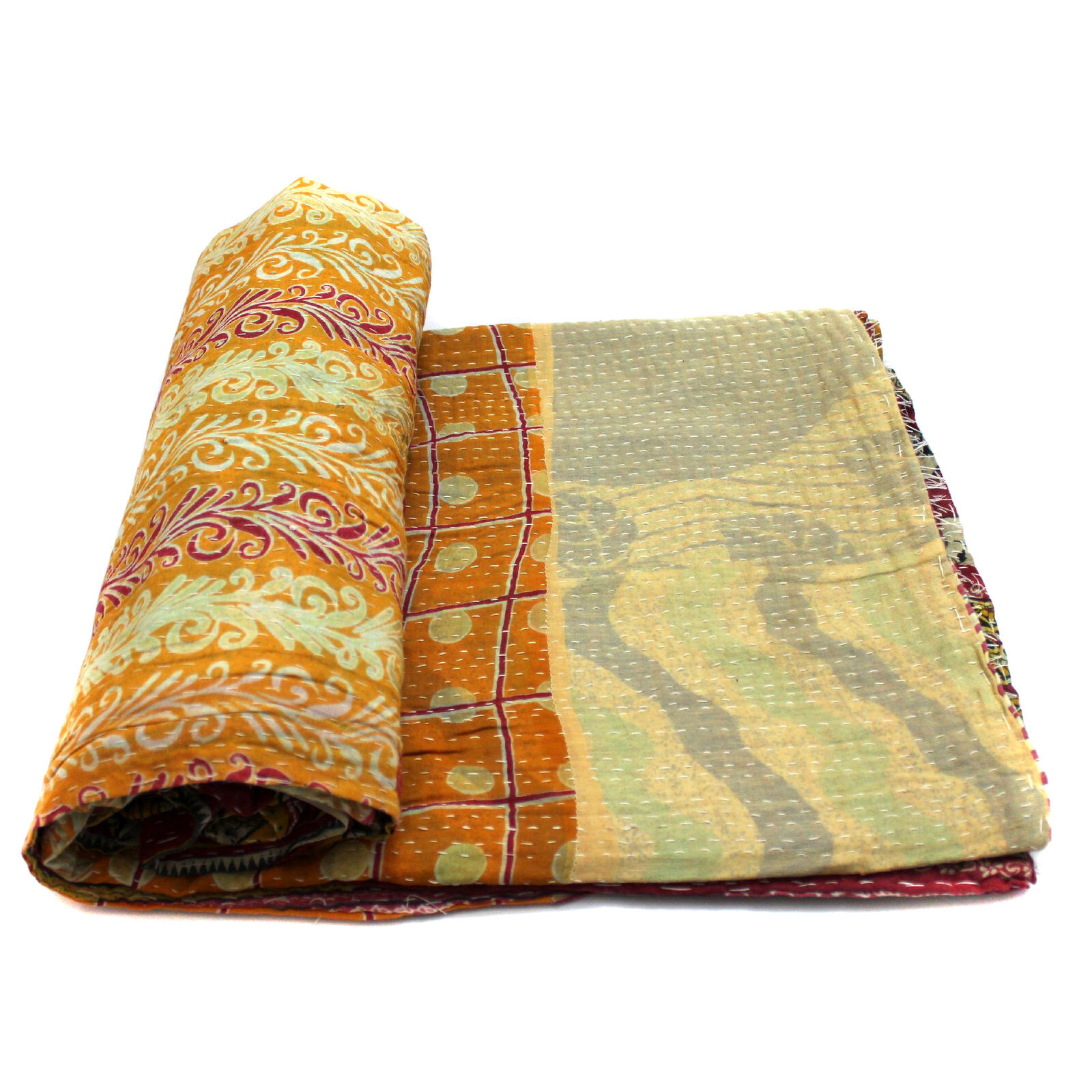 Vintage Kantha Quilt Indian Handmade Cotton Bedspread Couch Cover Blanket Throw
